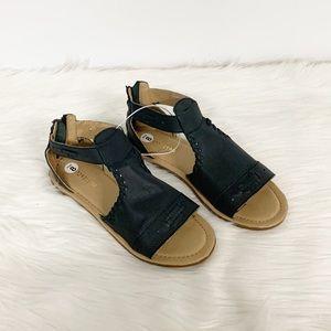 Musse & Cloud Shoes - Musse & Cloud | Black Leather Zip-up Sandals NEW